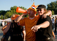 Holland supporters in Kharkov, Ukraine Stock Photography