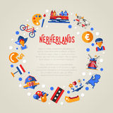 Holland travel circle postcard with famous Dutch symbols Royalty Free Stock Image
