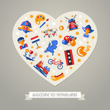 Holland travel heart postcard with famous Dutch symbols Stock Photo