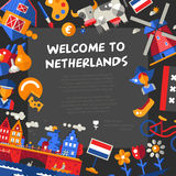Holland travel icons postcard with famous Dutch symbols Stock Photo
