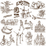 Holland - 1. Traveling series: NETHERLANDS (Holland) - Collection of an hand drawn illustrations. Description: Full sized hand drawn illustrations drawing on Royalty Free Stock Photo
