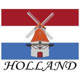 Holland. Typical wind mill over flag and text of holland Royalty Free Stock Photos