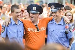 Holland ventilator med ukranian polis Royaltyfria Bilder
