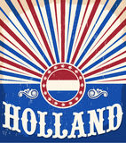 Holland vintage old poster with Netherlands flag colors Royalty Free Stock Photo