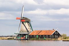 Holland windmill landscape Stock Photography