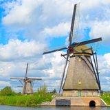 Holland windmills. Windmills in Kinderdijk, Netherlands, UNESCO World Heritage Site Stock Images
