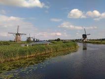 Windmills in Holland. Dutch windmills in Kinderdijk The World Heritage Site, Netherlands Stock Photos