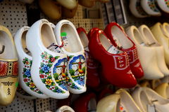 Holland wood schoes. Decorative hand made painted Stock Photography