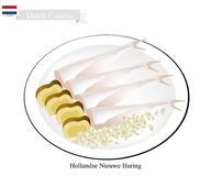 Hollandse Nieuwe Haring, A Popular Food in Netherlands. Dutch Cuisine, Hollandse Nieuwe Haring or Traditional Raw and Lightly Salted Herring. One of The Most Stock Photo