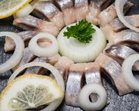 Hollandse Nieuwe- Traditional Dutch Food. Soused raw Herring soaked in mild marinade. Garnished with Lemon, Onion and Parsley. On black natural stone royalty free stock photo