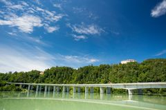 Hollenburg castle and bridge over Drau river Royalty Free Stock Images
