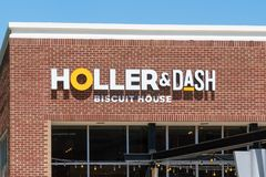 Holler and Dash Biscuit House Exterior and Logo stock photography