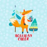 Holliday cheer Cartoon red fox greeting card. Funny cute animal stands with a bouquet of berries. For prints for children s clothing, bag childish poster Royalty Free Stock Photo