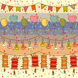 Holliday decor seamless pattern. With balloons, lamps, lanterns and flags Royalty Free Stock Images