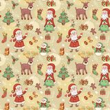 Holliday seamless pattern with santa. Royalty Free Stock Images