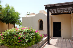 Holliday villa at the luxury hotel. And palm, Ras Al Khaimah, UAE Stock Photos