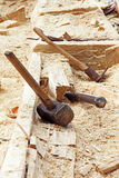 Hollow boat construction.Traditional way of carpentry work. Royalty Free Stock Photos