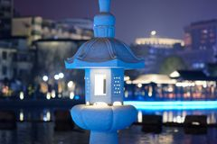 Hollow classical lamp of stone carving-Ruzi Pavilion Park night. Kiosks in the city of Nanchang province Xihu District in Jiangxi, West Lake, named for the Royalty Free Stock Photo