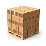 Hollow clay blocks. On the pallet - 3D illustration Stock Images