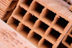 Hollow clay brick Stock Photo