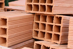 Hollow clay bricks royalty free stock images