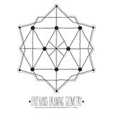 Hollow geometric figures and elements with lines polyhedrons, tr Royalty Free Stock Images