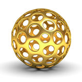 Hollow gold sphere over white background with shadow Stock Photo