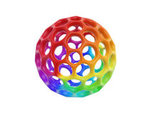 Hollow honeycomb cell ball. Rainbow color hollow honeycomb cell ball on white background Royalty Free Stock Image