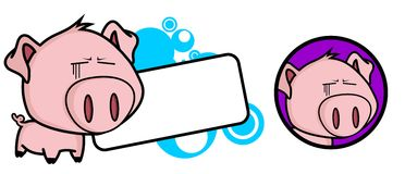 Hollow Little pig big head expression copyspace Royalty Free Stock Photography