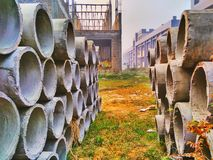 Hollow object. The hollow object used in making of sewage in the residences stock image