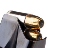 Hollow-point bullets in magazine Royalty Free Stock Photos