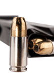 Hollow-point bullets in magazine Stock Photos