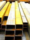 Hollow Steel Beams. Pile of steel beams at a steel yard Royalty Free Stock Photography