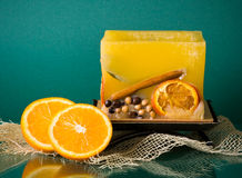 Hollow yellow square fruit candle Stock Images