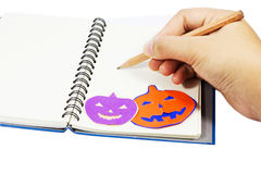 Holloween wording on notebook Royalty Free Stock Photo