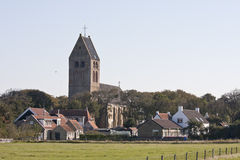 Hollum village and Dutch Reformed church, Ameland, Holland Royalty Free Stock Photography