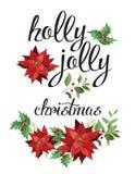 Holly, ευχάριστα και κόκκινο poinsettia Στοκ Εικόνες