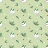 Holly και κουνέλια φιαγμένες από άνευ ραφής υπόβαθρο χιονιού διανυσματική απεικόνιση