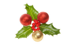 Holly with baubles Stock Photo