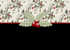 Holly & Berries Black Holiday Greeting Card. This card was designed with a scrolled holly and berry topper over a black background. Then a holly leaves with red stock illustration