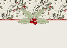 Holly & Berries Holiday Greeting Card Stock Photos