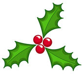 Holly berry. Christmas icon over white Stock Photography