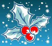 Holly berry. Ornate Holly berry on a blue background. Christmas illustration vector illustration