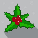 Holly berry. Christmas symbol. Holly berry - Christmas symbol on grey background. Flat design Royalty Free Stock Images