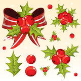 Holly berry design elements Royalty Free Stock Photo