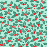 Holly berry flat seamless pattern Royalty Free Stock Photos