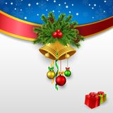 Holly berry with gold bells christmas greeting card Stock Images