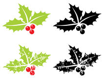 Holly berry grunge - Christmas symbol Stock Photo