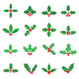 Holly berry icons. Holly berries and leaves icons. Collection of 16 Christmas symbols isolated on a white background. Vector illustration vector illustration