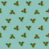Holly berry with leaves.  Christmas seamless pattern. Stock Photos
